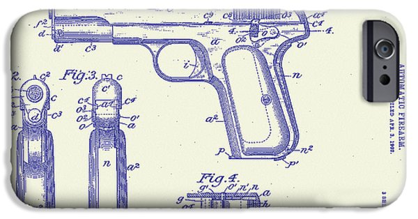 Weapon Drawings iPhone Cases - Browning Automatic Patent iPhone Case by Bill Cannon