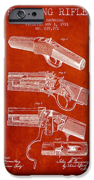 Weapon iPhone Cases - Browning Rifle Patent Drawing from 1921 - Red iPhone Case by Aged Pixel