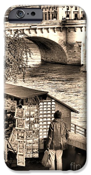 Browsing the Outdoor Bookseller  iPhone Case by Olivier Le Queinec