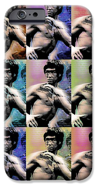 Jet Star Mixed Media iPhone Cases - Bruce Lee and Quotes Repeat iPhone Case by Tony Rubino
