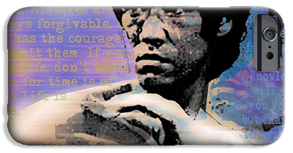 Jet Star Mixed Media iPhone Cases - Bruce Lee and Quotes Square iPhone Case by Tony Rubino