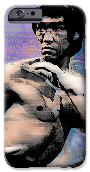 Jet Star iPhone Cases - Bruce Lee and Quotes iPhone Case by Tony Rubino