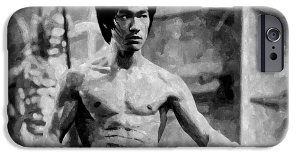 Celebrity Drawings iPhone Cases - Bruce Lee Painting iPhone Case by Florian Rodarte