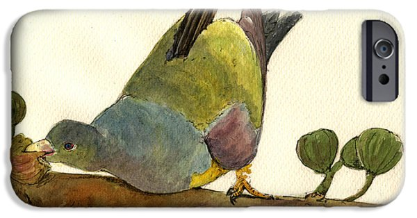 Bruce Paintings iPhone Cases - Bruce s Green Pigeon iPhone Case by Juan  Bosco