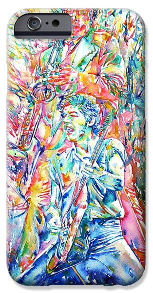 Springsteen iPhone Cases - BRUCE SPRINGSTEEN and CLARENCE CLEMONS WATERCOLOR PORTRAIT iPhone Case by Fabrizio Cassetta
