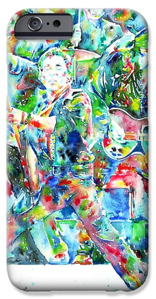 BRUCE SPRINGSTEEN and the E STREET BAND - watercolor portrait iPhone Case by Fabrizio Cassetta