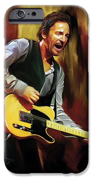 Springsteen iPhone Cases - Bruce Springsteen Artwork iPhone Case by Sheraz A