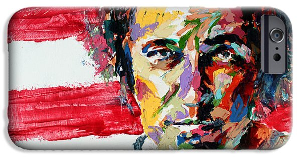 Best Sellers -  - Bruce Springsteen Paintings iPhone Cases - Bruce Springsteen iPhone Case by Derek Russell