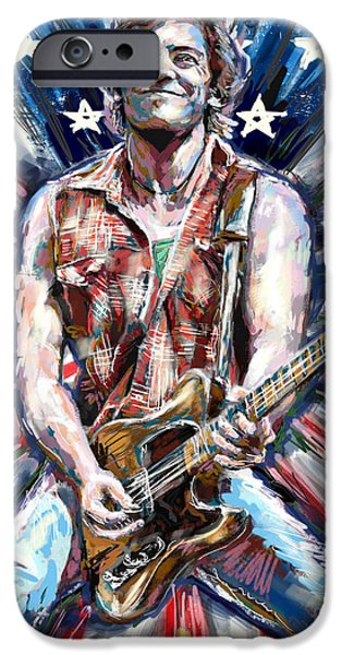 E Street Band iPhone Cases - Bruce Springsteen Painting iPhone Case by Ryan RockChromatic