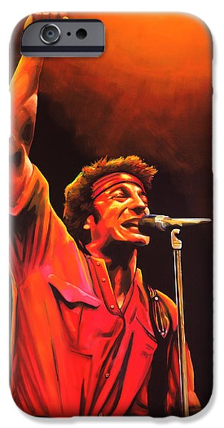 Born In The Usa Paintings iPhone Cases - Bruce Springsteen iPhone Case by Paul  Meijering