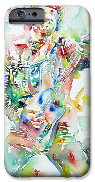 Springsteen iPhone Cases - BRUCE SPRINGSTEEN PLAYING the GUITAR WATERCOLOR PORTRAIT iPhone Case by Fabrizio Cassetta