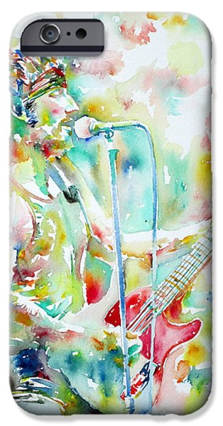 BRUCE SPRINGSTEEN PLAYING the GUITAR WATERCOLOR PORTRAIT.1 iPhone Case by Fabrizio Cassetta