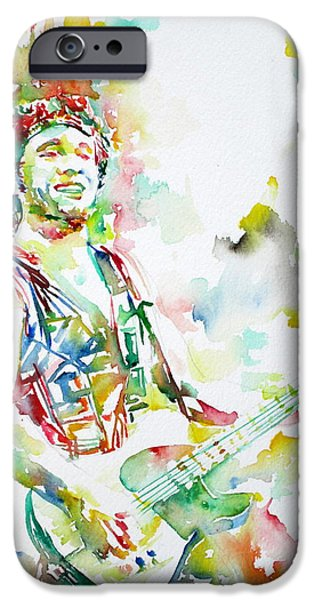 Best Sellers -  - Bruce Springsteen Paintings iPhone Cases - BRUCE SPRINGSTEEN PLAYING the GUITAR WATERCOLOR PORTRAIT.2 iPhone Case by Fabrizio Cassetta