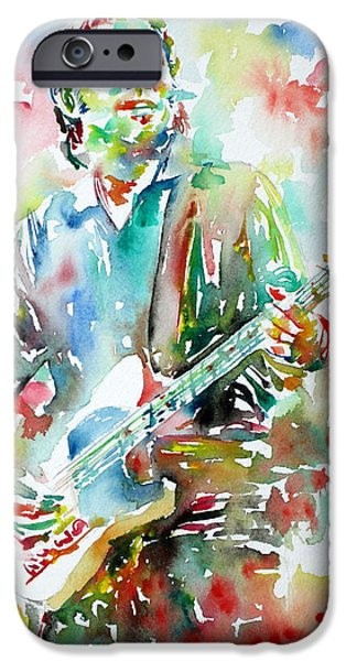 Best Sellers -  - Bruce Springsteen Paintings iPhone Cases - BRUCE SPRINGSTEEN PLAYING the GUITAR WATERCOLOR PORTRAIT.3 iPhone Case by Fabrizio Cassetta