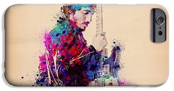 Springsteen iPhone Cases - Bruce Springsteen Splats And Guitar iPhone Case by MB Art factory