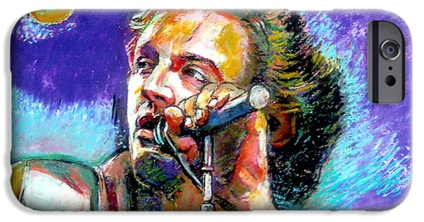 Music Pastels iPhone Cases - Bruce Springsteen iPhone Case by Stan Esson