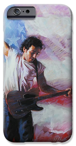 Springsteen iPhone Cases - Bruce Springsteen The Boss iPhone Case by Viola El