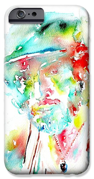E Street Band Paintings iPhone Cases - Bruce Springsteen Watercolor Portrait iPhone Case by Fabrizio Cassetta