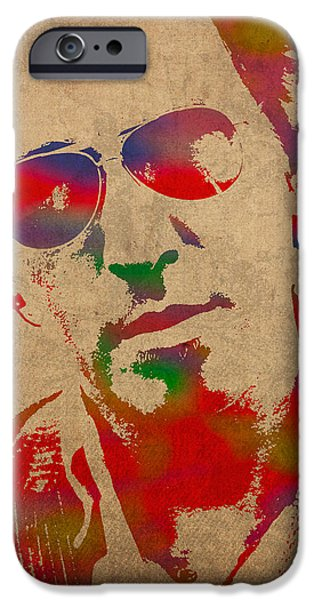 Springsteen iPhone Cases - Bruce Springsteen Watercolor Portrait on Worn Distressed Canvas iPhone Case by Design Turnpike