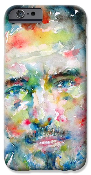 Best Sellers -  - Bruce Springsteen Paintings iPhone Cases - Bruce Springsteen Watercolor Portrait.1 iPhone Case by Fabrizio Cassetta