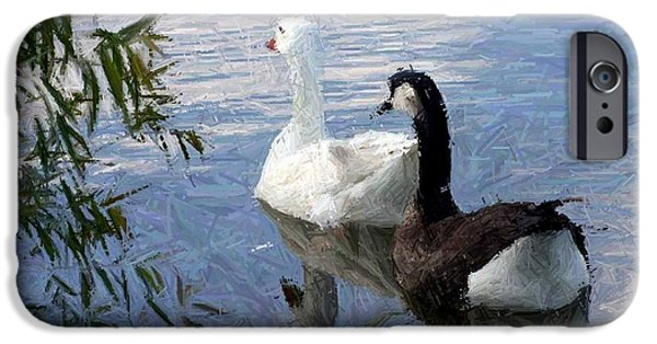 Snow Tapestries - Textiles iPhone Cases - Bruce The Canadian Goose and Flo on the Go iPhone Case by Thia Stover