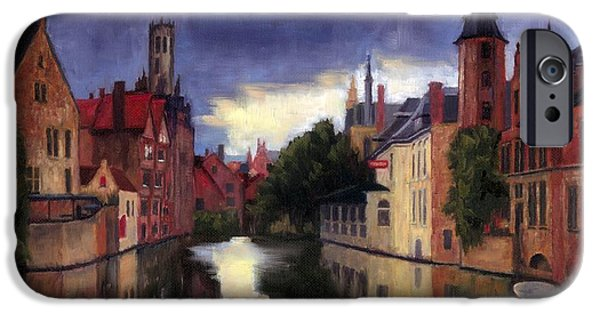 Janet King iPhone Cases - Bruges Belgium canal iPhone Case by Janet King