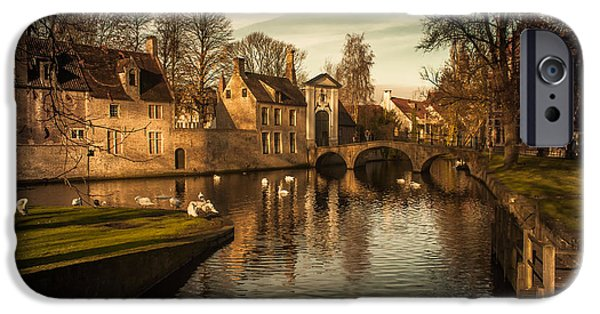 Fletcher iPhone Cases - Bruges canal iPhone Case by Chris Fletcher