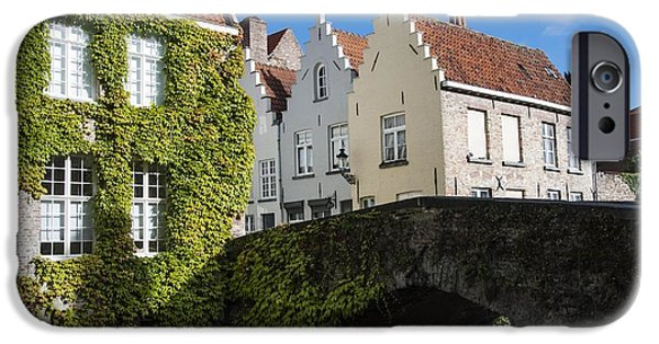 Belgium iPhone Cases - Bruges Gabled Homes Along Waterway iPhone Case by Juli Scalzi