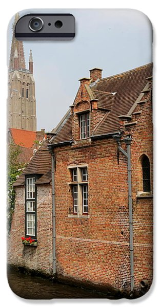 Bruges Houses with Bell Tower iPhone Case by Carol Groenen