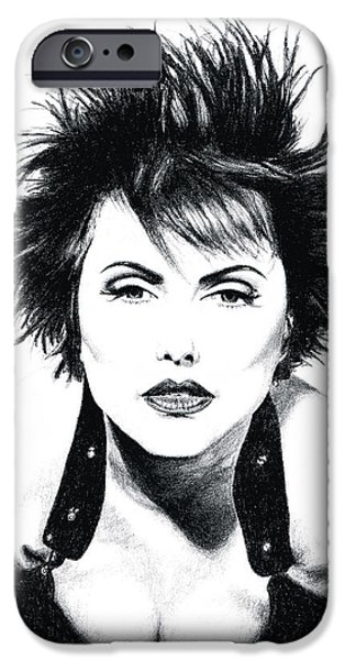 Rocks Drawings iPhone Cases - Brunette Blondie Art - Debbie Harry Tribute - By Sharon Cummings iPhone Case by Sharon Cummings