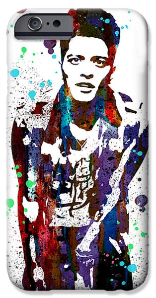 Portrait Art iPhone Cases - Bruno Mars iPhone Case by Luke and Slavi