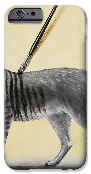 Brushing the Cat - No. 2 iPhone Case by Crista Forest