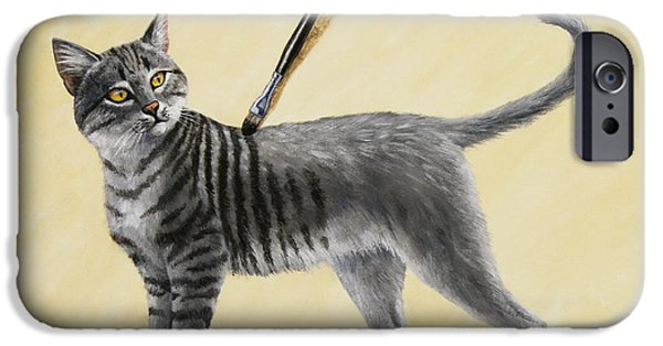 Stripe.paint iPhone Cases - Brushing the Cat - No. 2 iPhone Case by Crista Forest
