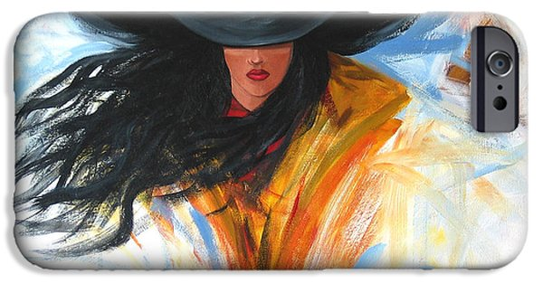 Cowgirl iPhone Cases - Brushstroke Cowgirl iPhone Case by Lance Headlee