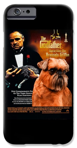 The Godfather Paintings iPhone Cases - Brussels Griffon Art Canvas Print - The Godfather Movie Poster iPhone Case by Sandra Sij
