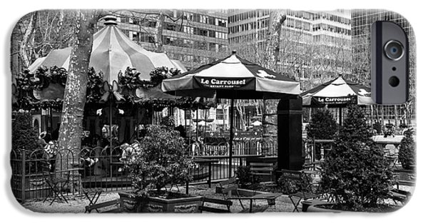Bryant Photographs iPhone Cases - Bryant Park Tables mono iPhone Case by John Rizzuto