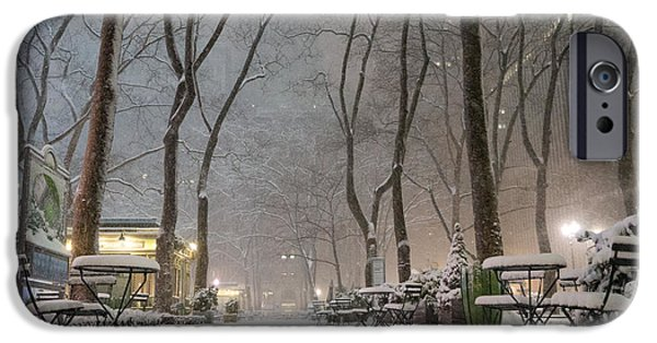 Bryant Photographs iPhone Cases - Bryant Park - Winter Snow Wonderland - iPhone Case by Vivienne Gucwa