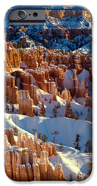 Red Rock iPhone Cases - Bryce Canyon in Winter iPhone Case by Inge Johnsson