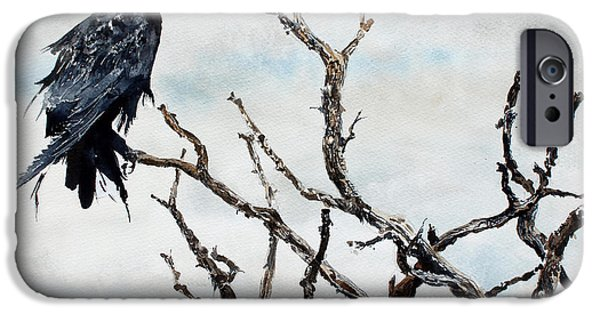Windblown Paintings iPhone Cases - Bryces Raven iPhone Case by Monte Toon