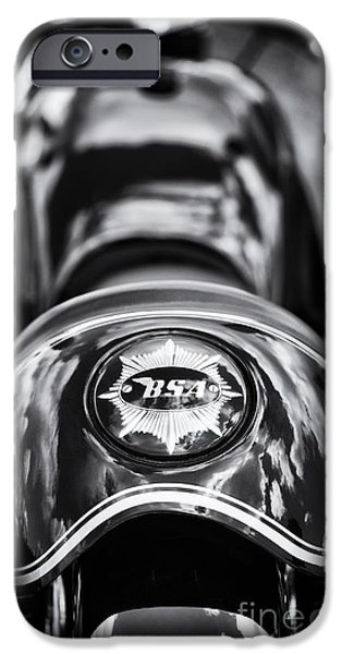 Monochrome iPhone Cases - BSA Cafe Racer Monochrome iPhone Case by Tim Gainey