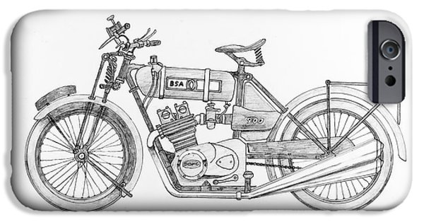 Owner Drawings iPhone Cases - B.S.A.-Kawasaki iPhone Case by Stephen Brooks