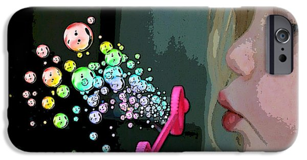 Little Girl Mixed Media iPhone Cases - Bubble Magic iPhone Case by Ellen Henneke
