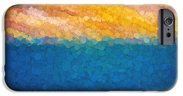 Abstract Digital Photographs iPhone Cases - Bubble Sunrise Abstract Digital Painting iPhone Case by Rich Franco