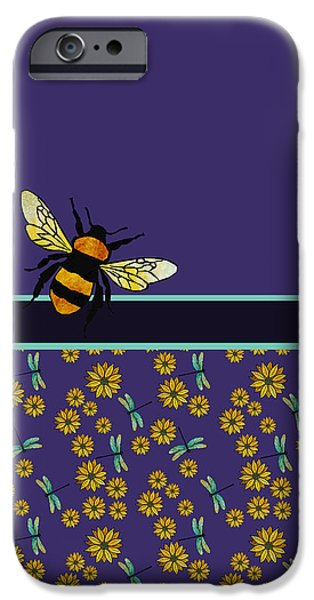 Fabric Mixed Media iPhone Cases - Bubblebee and Friends iPhone Case by Jenny Armitage