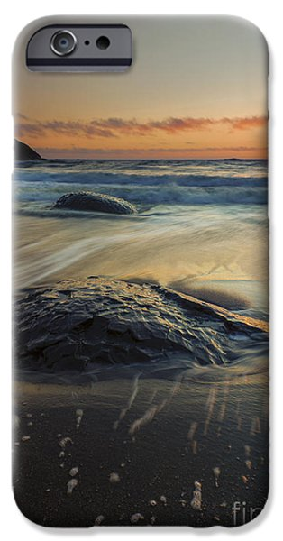 Ocean Sunset iPhone Cases - Bubbles on the Sand iPhone Case by Mike  Dawson