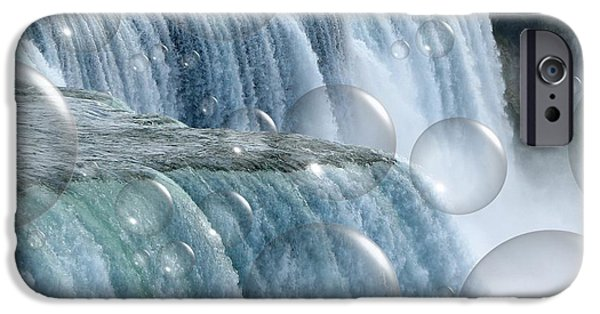 Artists4god iPhone Cases - Bubbles over Niagara Falls iPhone Case by Rose Santuci-Sofranko