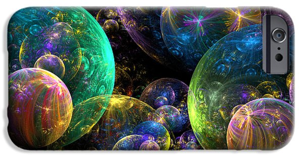 Abstract Digital iPhone Cases - Bubbles Upon Bubbles iPhone Case by Peggi Wolfe