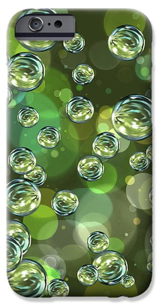 Abstract Digital Digital Art iPhone Cases - Bubbles iPhone Case by Veronica Minozzi