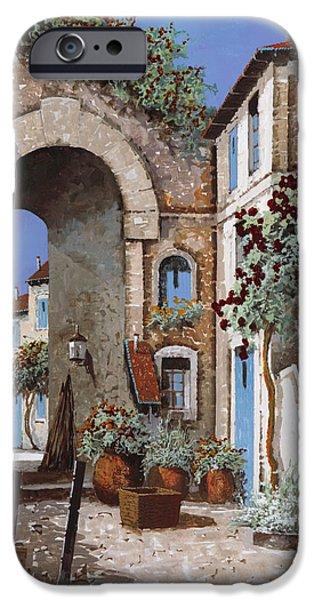 Steps Paintings iPhone Cases - Buchi Blu iPhone Case by Guido Borelli