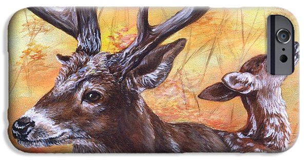 Autumn Scenes Drawings iPhone Cases - Buck and Fawn iPhone Case by Sharon Molinaro